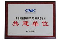 2013年度CNNICCNNIC中国域名体系IPV6升级改造项目 共建单位