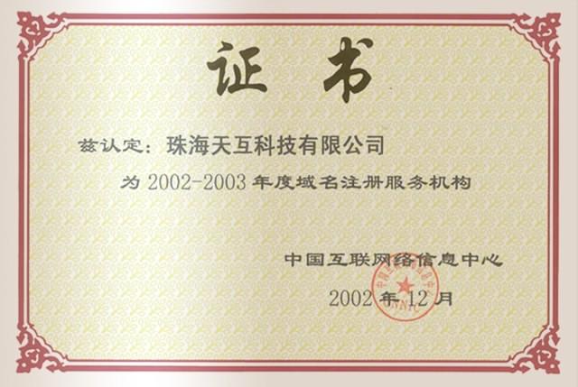 2002-2003 CNNIC 年度域名注冊服務機構